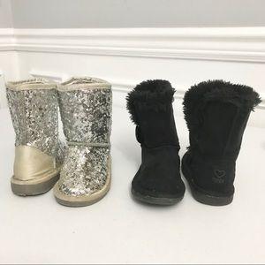 2 pairs Infant Plush Boots Size 7 Sequin Black
